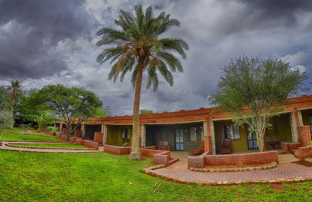 Kalahari Anib Lodge rooms and garden