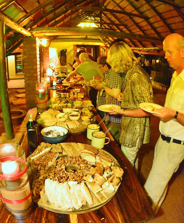 Kalahari Anib Lodge buffet dinner