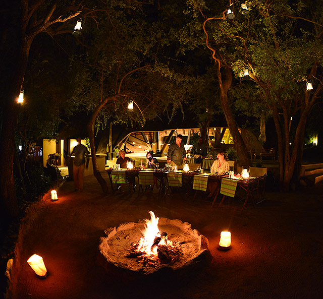 Cheetah Plains boma dinner with lanterns galore!