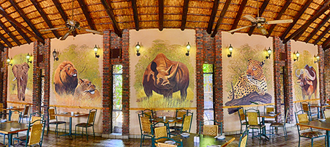 Big-five murals in Manyane restaurant