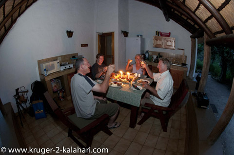 dinner at Bateleur camp