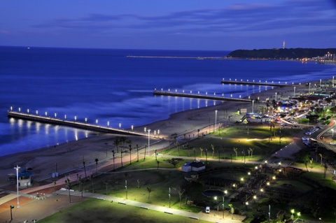 Durban beachfront at night