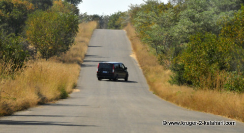 parked diagonally in Kruger Park