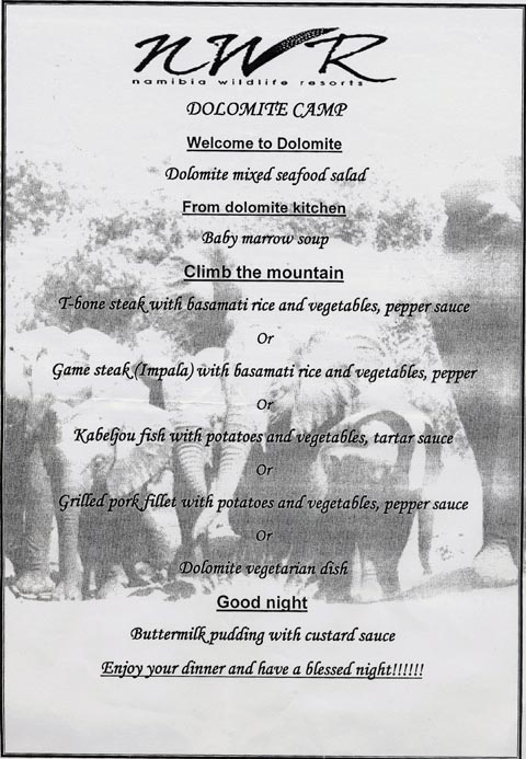 Dolomite camp dinner menu