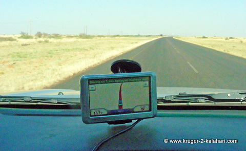 Garmin Nuvi being used driving through Botswana