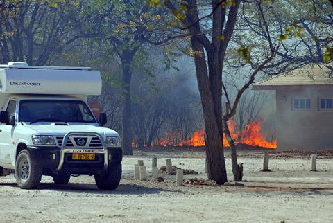 fire in Halali camp Etosha