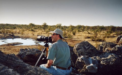 Waiting for the action at Halali Waterhole, Etosha