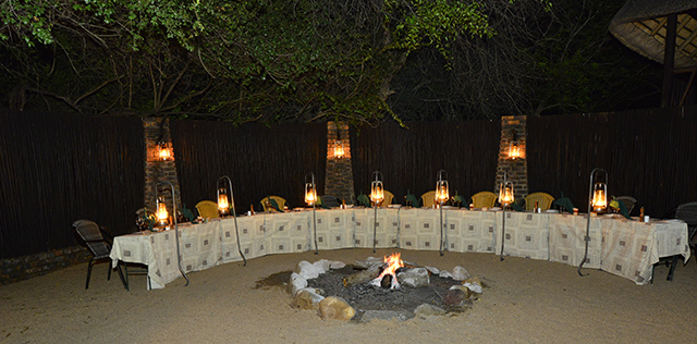 Idube boma setup for dinner