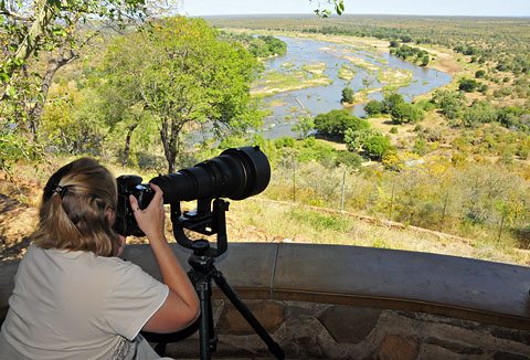 Photographing from Olifants bungalow