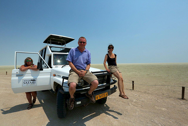 Kathryn with two clients on Etosha Pan
