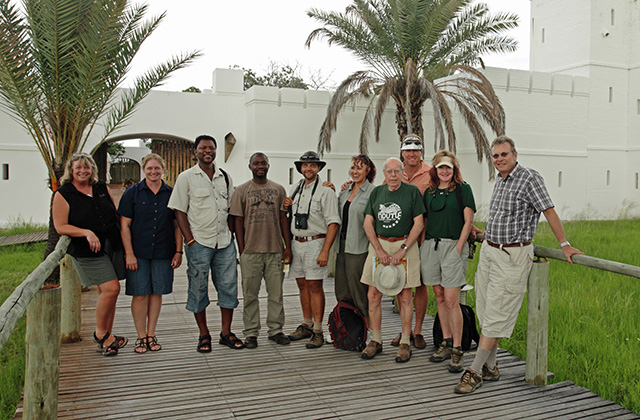 Guests on the Dr Estes Guided Safari in front of Fort Namutoni