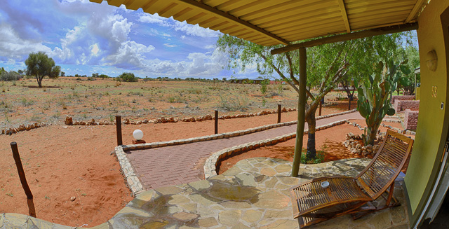 Kalahari Anib Lodge view from chalet over waterhole