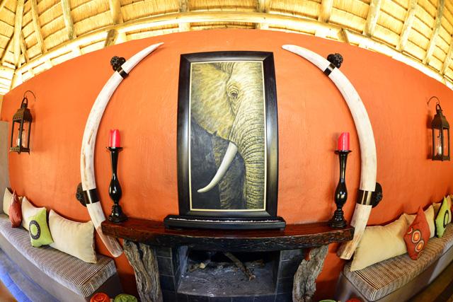 Elephant tusks over fireplace