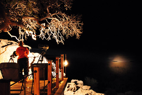 Lightforce spotlight at Dolomite Camp in Etosha