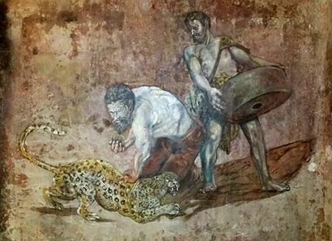 Leipzig Leopard mural in old wine cellar