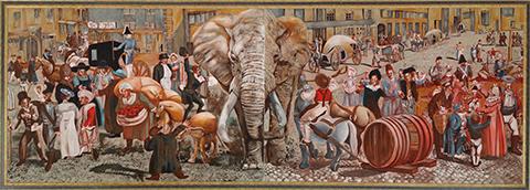 Leipzig elephant panorama mural
