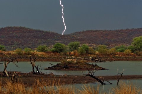Lighning as viewed from Malatse hide, Pilanesberg