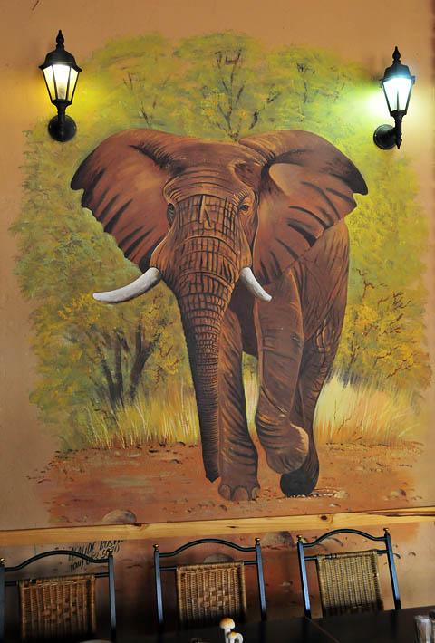 Large Paintings on wall in Manyane Rrestaurant