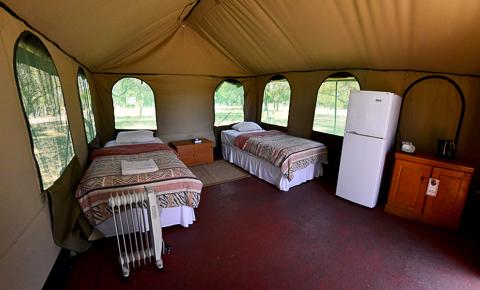 inside of Manyane tent