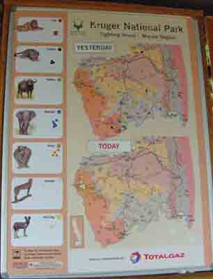 Southern region sighting board in kruger park