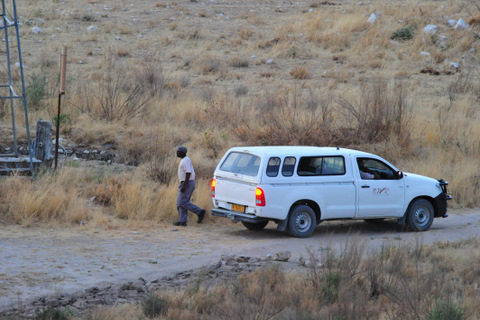 NWR vehicle at Dolomite camp waterhole