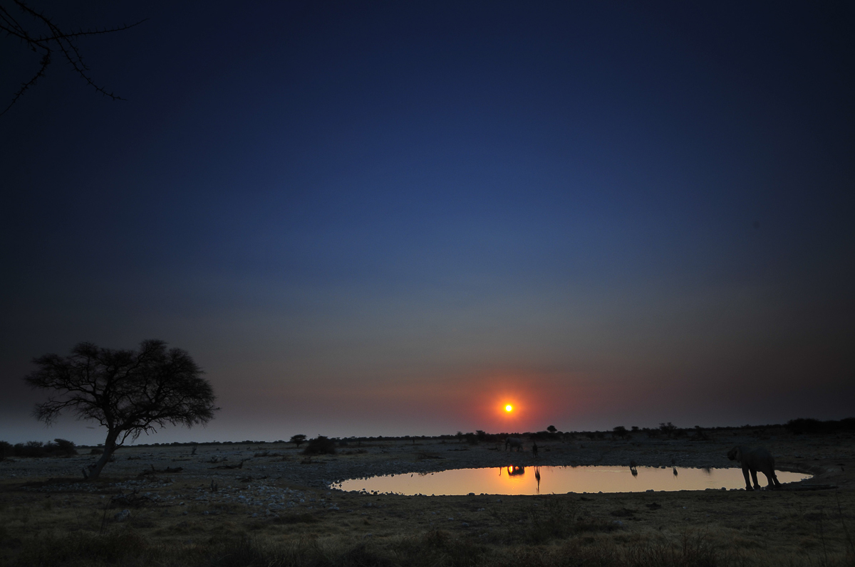 sunset at Okaukuejo waterhole in etosha