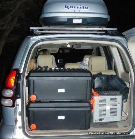 Toyota Prado packed with Engel fridge and luggage
