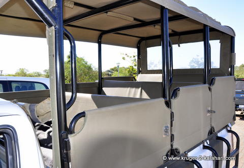 Safari vehicle showing benches inside