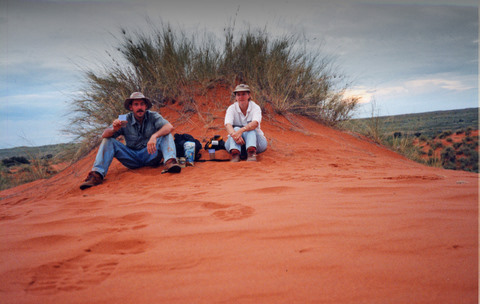 Jenny and I having sundowners ontop of a red Kalahari Dune in Twee Rivieren Camp