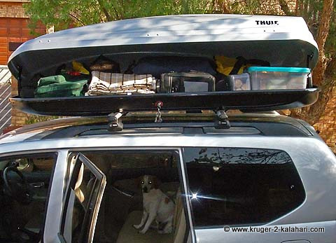 Thule roofbox filled