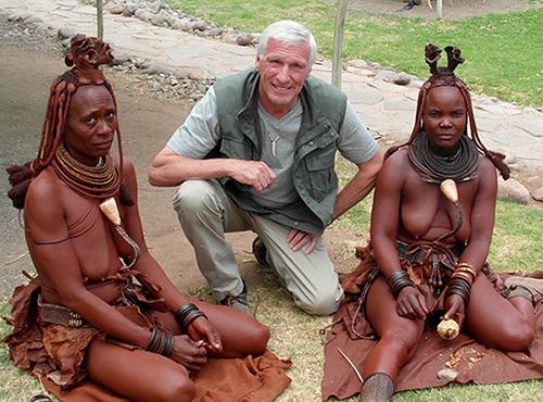 Tony with two Himba women