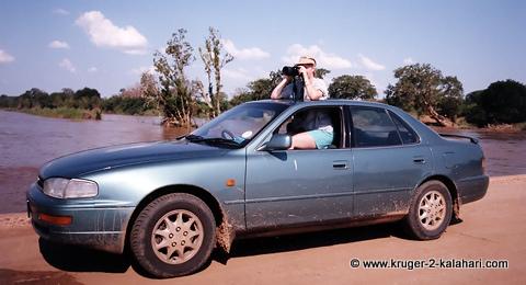 Camry on bridge in Kruger Park