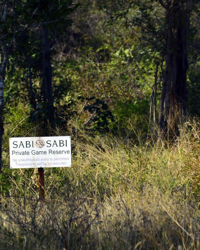 White signs of Sabi Sabi game reserve