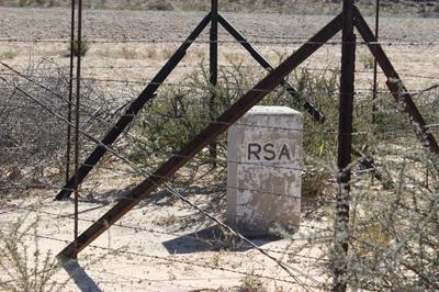 Botswana border marker on the other side.