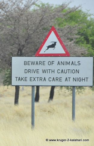 Warning sign in Botswana