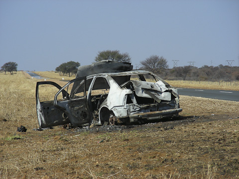 burnt-out car in Namibia