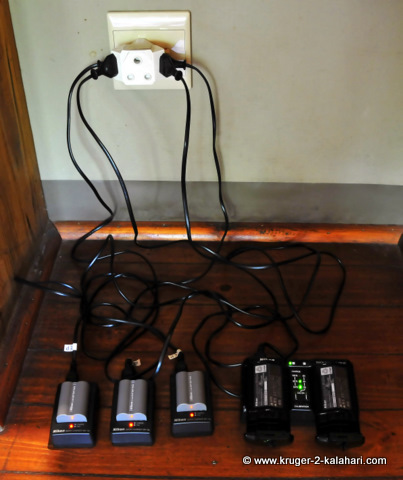 Nikon camera batteries being charged