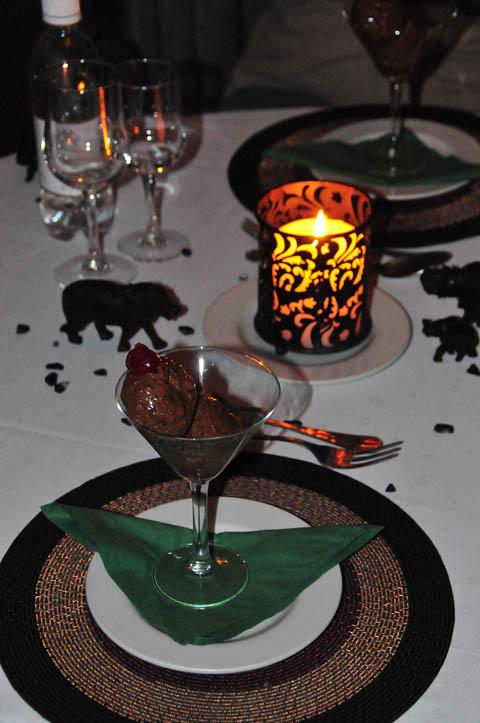 Chocolate mousse desert at Tshukudu Lodge