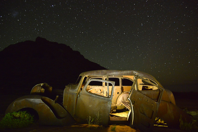 Old car with stars above