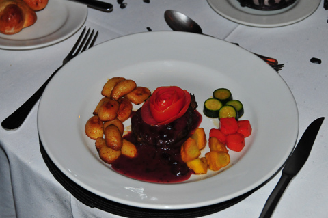 Dinner of Kudu steak at Tshukudu lodge