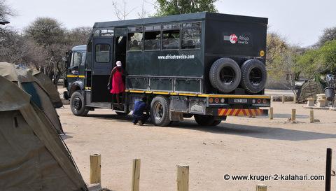 Large safari vehicle in Etosha
