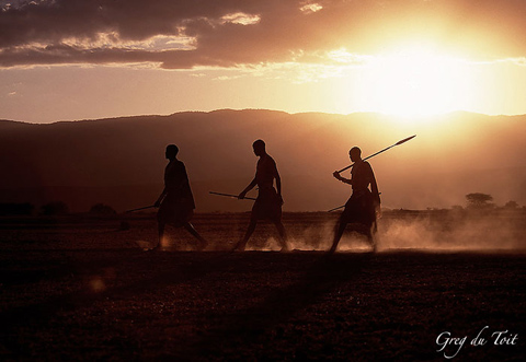 Maasai warriors walking