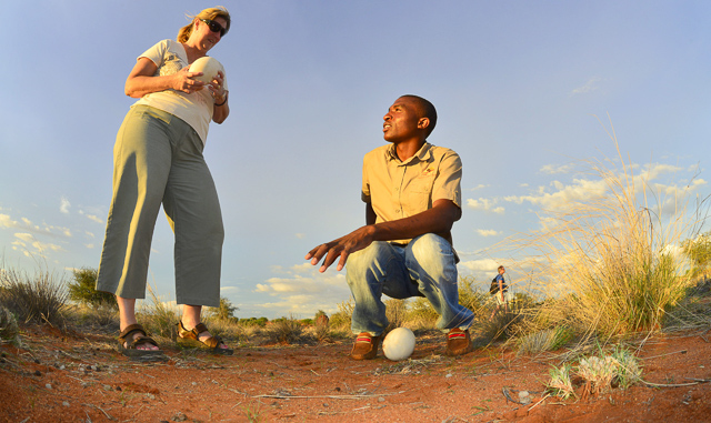 Kalahari Anib Lodge ostrich egg talk
