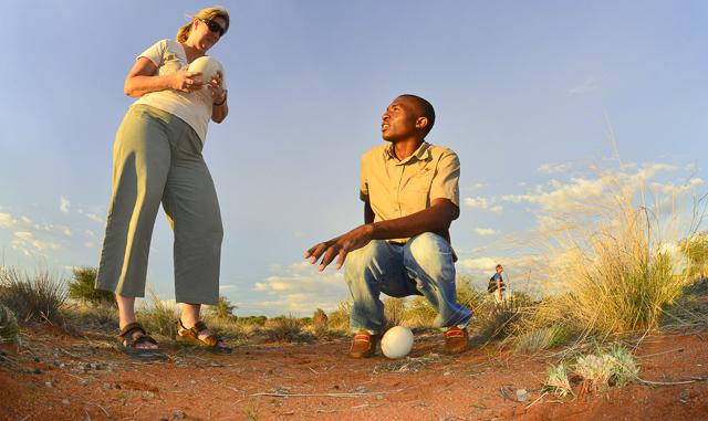 Kalahari Anib Lodge ostrich egg talk