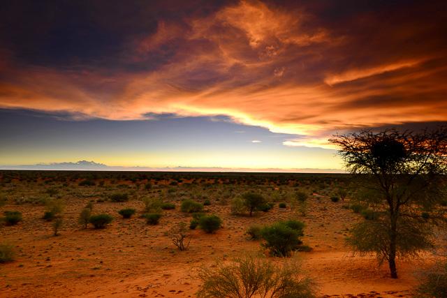 Kalahari Anib Lodge - view from dune over park at sunset