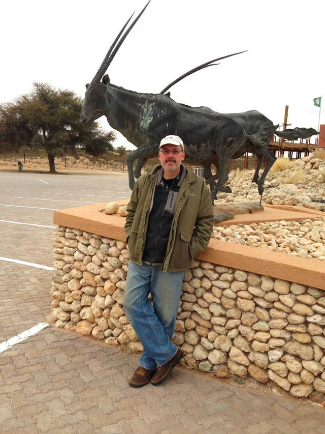 Mario at Kgalagadi entrance gate