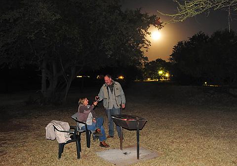 braaing in the moon light pilanesberg