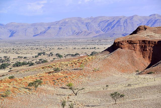 Namib Dune Lodge at the base of the petrified dunes