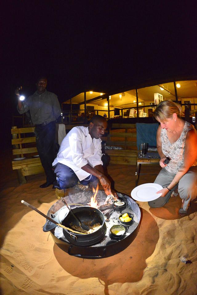 Dishing up at boma dinner