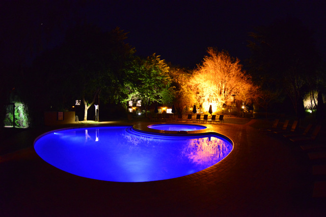 Protea's swimming pool at night